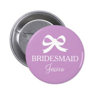 Botón púrpura del bridemaid de la lavanda para el pin redondo de 2 pulgadas