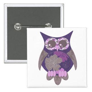 Botón púrpura del búho del hibisco pin