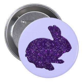 Botón púrpura del conejito de pascua de la silueta pin redondo de 3 pulgadas