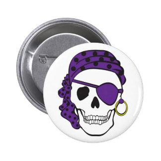 Botón púrpura del cráneo del pirata pins