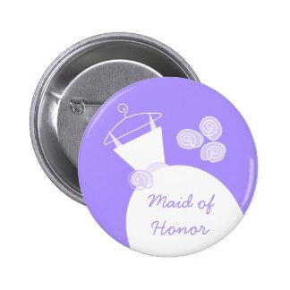 Botón púrpura del honor del vestido de boda