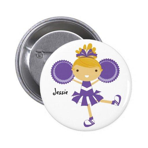 Botón púrpura del nombre de la fiesta de pin redondo de 2 pulgadas