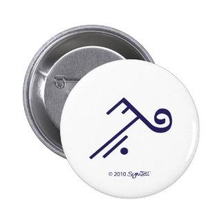 Botón púrpura del símbolo de SymTell que acepta Pin Redondo De 2 Pulgadas