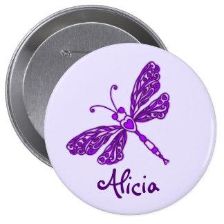 Botón púrpura estilizado del nombre del arte de la pin