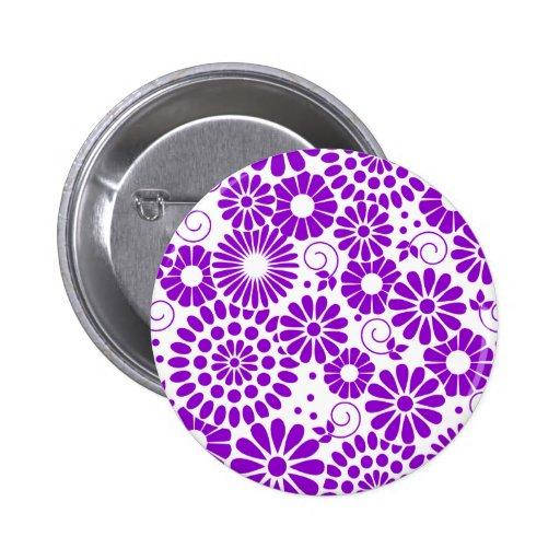 Botón púrpura floral del vintage pins