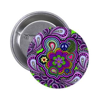 Botón púrpura psicodélico de Paisley Pin Redondo De 2 Pulgadas