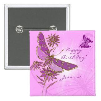 Botón púrpura rosado de la mariposa pin cuadrado