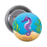 Botón púrpura subacuático del Seahorse Pins