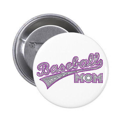Botón púrpura y gris de la mamá del béisbol pin