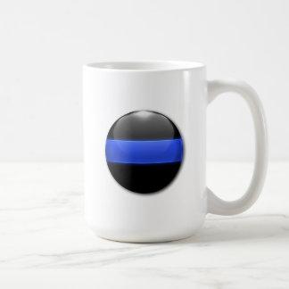 Botón que brilla intensamente fino de Blue Line Taza Básica Blanca