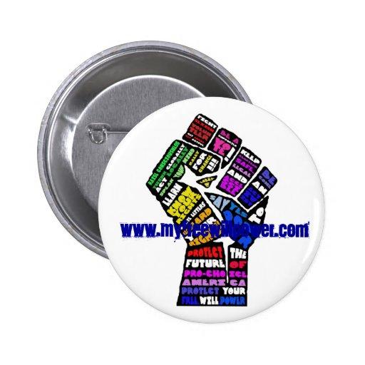 botón que gana con el Web site Pins