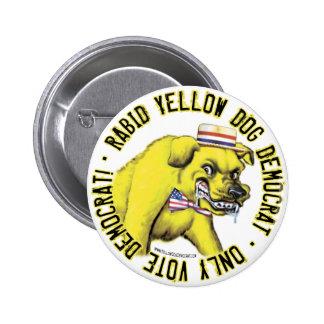 Botón rabioso de Demócrata del perro amarillo