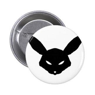 Botón rabioso del logotipo del conejo de los