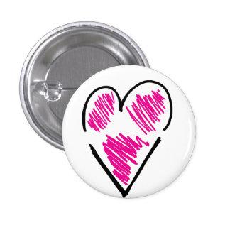 Botón rasgado <3 pin redondo de 1 pulgada
