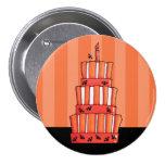 Botón rayado anaranjado de la torta de los palos pins