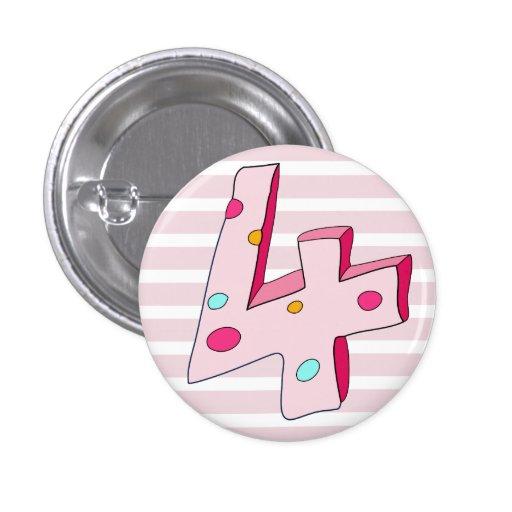 Botón rayado del cumpleaños del polo 4 rosados