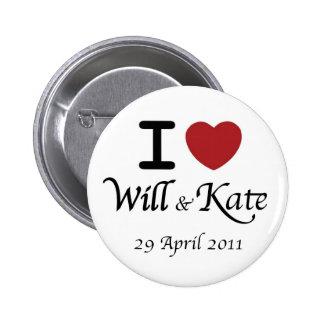 Botón real de Guillermo que se casa y de Kate Pin Redondo De 2 Pulgadas