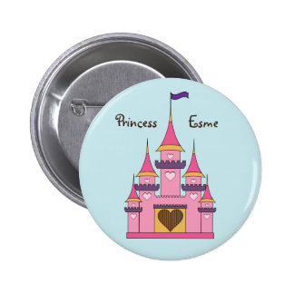 Botón real del castillo de princesas pin redondo de 2 pulgadas