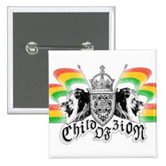 Botón real del escudo del reggae de Rasta Pin Cuadrado