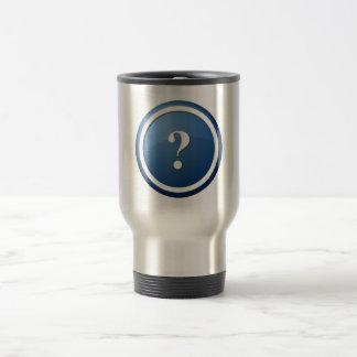 botón redondo azul del signo de interrogación taza de viaje de acero inoxidable