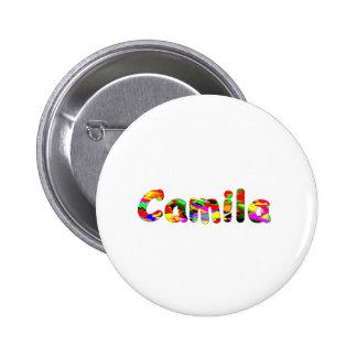 Botón redondo blanco de Camila Pinback Pin Redondo De 2 Pulgadas