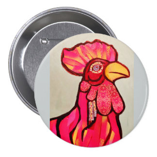 Botón redondo con el gallo rojo pin redondo de 3 pulgadas