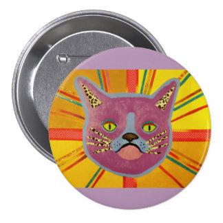 Botón redondo con el gato fresco pin redondo de 3 pulgadas