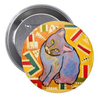 Botón redondo con el gato púrpura fresco pin redondo de 3 pulgadas