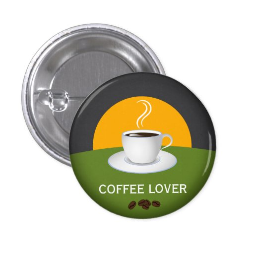 Botón redondo de encargo de la taza de café del pin redondo de 1 pulgada