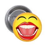 Botón redondo de encargo divertido amarillo sonrie pins