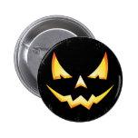 Botón redondo de Halloween de la calabaza asustadi Pin