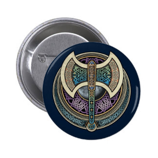 Botón redondo de Knotwork Labrys Pins