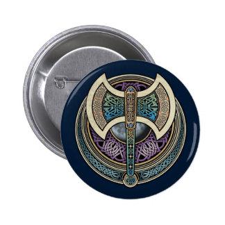 Botón redondo de Knotwork Labrys Pin Redondo De 2 Pulgadas