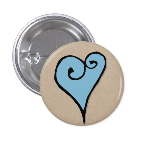 Botón redondo de Kraft del corazón azul del adorno Pins