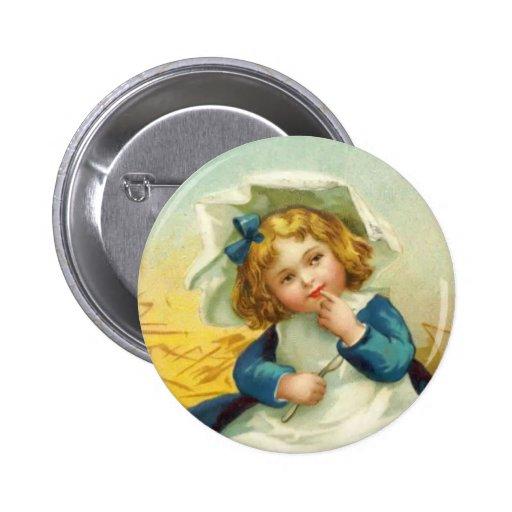 Botón redondo de la acción de gracias del vintage pin