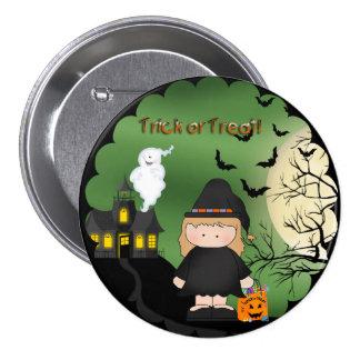 Botón redondo de la bruja linda de Halloween
