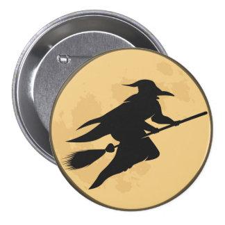 Botón redondo de la bruja retra de Halloween Pin Redondo De 3 Pulgadas