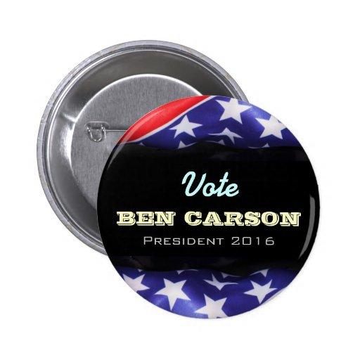 Botón redondo de la campaña de Ben Carson 2016 Pin
