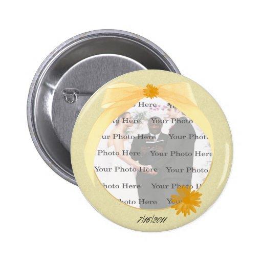 Botón redondo de la foto de la flor amarilla pins
