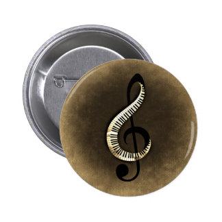 Botón redondo de la imagen de la nota musical pin redondo de 2 pulgadas