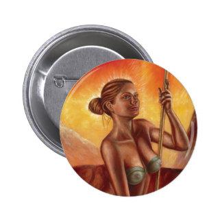 Botón redondo de la mujer de la mujer de la lanza