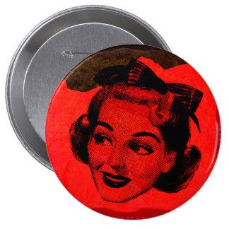 Botón redondo de la mujer principal roja retra del