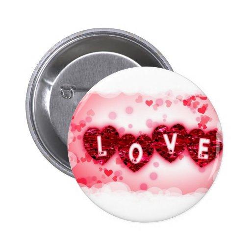 Botón redondo de las letras de amor pin