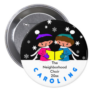 Botón redondo de los Carolers del navidad