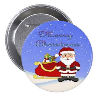 Botón redondo de Santa de las Felices Navidad Pin Redondo De 3 Pulgadas