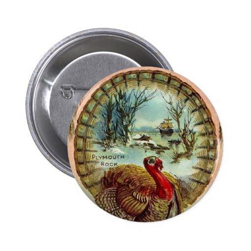 Botón redondo de Turquía de la acción de gracias d Pin