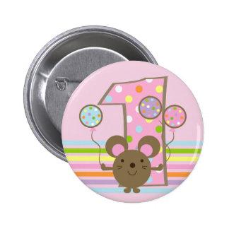 Botón redondo del 1r cumpleaños del rosa del ratón