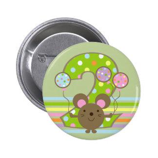 Botón redondo del 2do cumpleaños del verde del rat pin redondo de 2 pulgadas