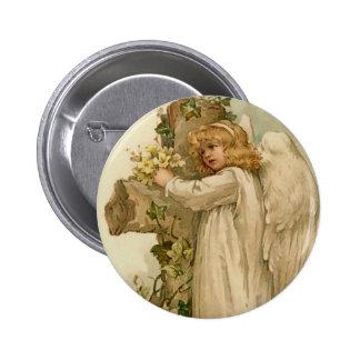 Botón redondo del ángel de Pascua del vintage Pin Redondo De 2 Pulgadas