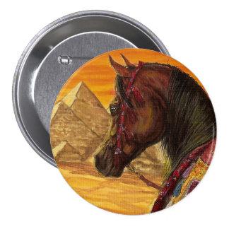 Botón redondo del caballo árabe del rojo y del oro
